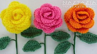 DIY Learn How to Crochet a Beginner Easy Flower - Rose Rosas Bouquet Flowers Leaf Leaves Stem