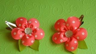 getlinkyoutube.com-Радостный цветок канзаши на заколке клик-клак / Joyful flower kanzashi