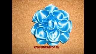 getlinkyoutube.com-мастер-класс голубого цветка из атласной ленты.Ищу рекламодателей для своих видео