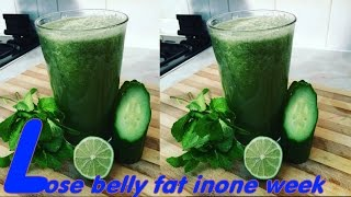 getlinkyoutube.com-How to lose belly fat in one week with a smoothie drink made with lime, cucumber and mint