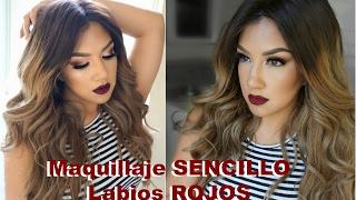 getlinkyoutube.com-Maquillaje SENCILLO labios ROJOS/ Easy Smokey eye Red Lips Makeup tutorial  auroramakeup
