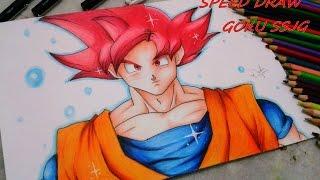 getlinkyoutube.com-Speed Drawing - Goku Super Sayajin God ssjg (Batalha dos Deuses)