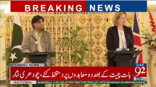 Improvement in Pakistan's security situation impressive: UK Home Secretary - 92NewsHDPlus
