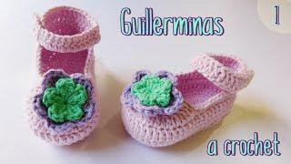getlinkyoutube.com-Como tejer guillerminas, merceditas a crochet para bebe (1/2)