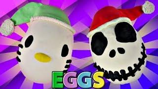 getlinkyoutube.com-Giant Jack Skellington and Hello Kitty Play Doh Surprise Toy Eggs Big Hero 6 My Little Pony
