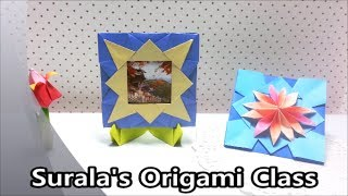 getlinkyoutube.com-Origami - Picture Frame (Sunburst Motif ) & Stand / 종이접기 - 햇살 액자 & 액자 받침대