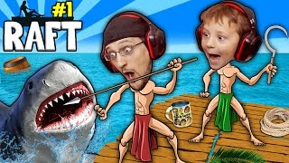 SHARK SONG on RAFT! Survival Game w/ Baby Shawn in Danger! 1st Night Minecraft? FGTEEV Gameplay/Skit