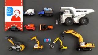 getlinkyoutube.com-Learning Construction Vehicles Names for kids with tomica 2015 siku lego