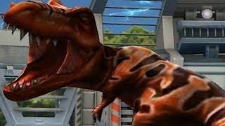 getlinkyoutube.com-Jurassic Park Builder: T-Rex VS Stegosaurus Fight Battle