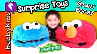 getlinkyoutube.com-Biggest COOKIE MONSTER Elmo Surprise Eggs! Hero, MLP, Mystery Box HobbyKidsTV