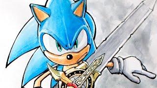 getlinkyoutube.com-Drawing Sonic - Sega - Watercolor - Subscriber Request
