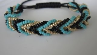 getlinkyoutube.com-Shamballa Bracelet with 3 colors Seed Bead  . Шамбала Браслет  из Бисера.