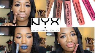 getlinkyoutube.com-NYX Liquid Suede Lip Creams | Lip Swatches + Review | Deep Skin Tones