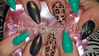 getlinkyoutube.com-Acrylic 3 Week Infill l Green Mermaid & Cheetah Print l Madam Glam l Nail Design