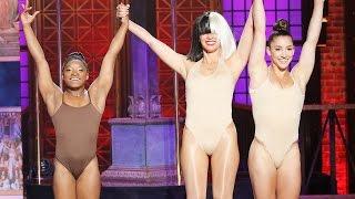 getlinkyoutube.com-Simone Biles Suffers Wardrobe Malfunction On Lip Sync Battle Live w/ Olivia Munn & Michael Phelps