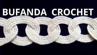 getlinkyoutube.com-Bufanda con motivos circulares en tejido crochet tutorial paso a paso.