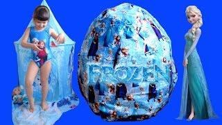 getlinkyoutube.com-Giant Disney Frozen Surprise Egg - Let It Go Wand + Elsa Anna Dolls Biggest Egg Toys Compilation