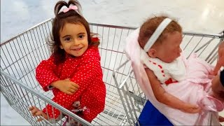 getlinkyoutube.com-Kids Shopping Trip /Shopping Cart with Silicone Baby Doll