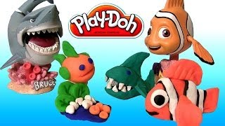 getlinkyoutube.com-Play Doh Makeables Sea Life Pixar Finding Nemo Shark Bruce Turtle Disneyplaydough by Disneycollector