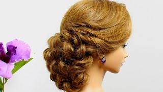 getlinkyoutube.com-Curly wedding  hairstyle for medium hair tutorial.