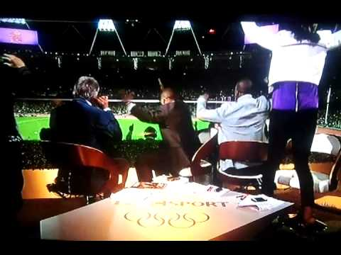 FUNNY Mo Farah wins olympic gold 10000 metres (04/08/2012)  BBC commentators reaction