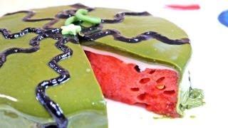 getlinkyoutube.com-Watermelon Cake Recipe スイカケーキ 青汁 グラサージュケーキ Summer Recipes