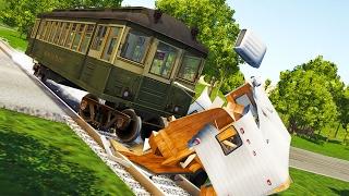 TRAIN VS CARS! - BeamNG Drive Subway Car Mod