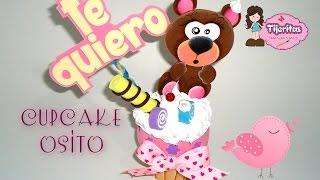 getlinkyoutube.com-DIY Como hacer cupcake osito de Manualidades en foamy - foami - Goma Eva - Fomix