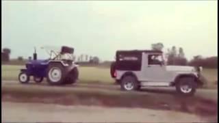 getlinkyoutube.com-New Mahindra Thar vs Tractor tow-chain match !!