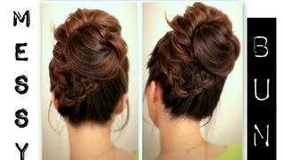 getlinkyoutube.com-★ CUTE, EVERYDAY SCHOOL HAIRSTYLES | BIG, MESSY BUN WITH BRAIDS UPDOS FOR MEDIUM LONG HAIR TUTORIAL