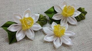 getlinkyoutube.com-D.I.Y. Satin Kanzashi Daffodils Tutorial | MyInDulzens