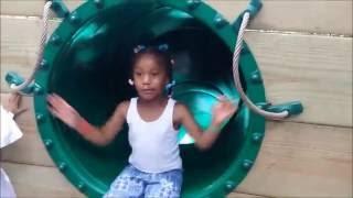 getlinkyoutube.com-Sassy little girl blocks the slide at the zoo