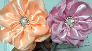 getlinkyoutube.com-Diadema con flor de  pétalos de tela  de satin quemada No. 180