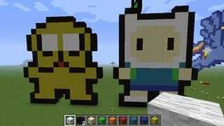 Minecraft tutorial como construir a  finn y jake Pixel art