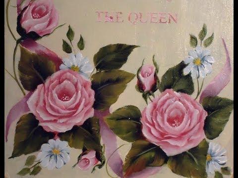 Como pintar en acrílico con técnica americana - Cuadro de rosas vintage