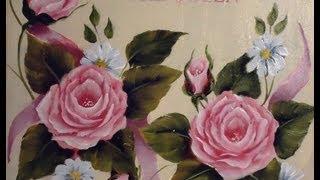 getlinkyoutube.com-Como pintar en acrílico con técnica americana - Cuadro de rosas vintage
