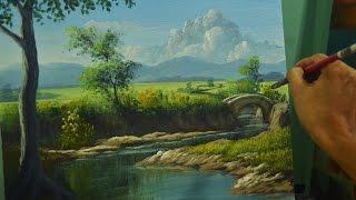 getlinkyoutube.com-Acrylic Painting Lesson | River to the Bridge by JM Lisondra