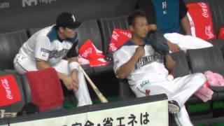 中田翔さんを叱ってくれる大野さん@札幌ドーム 2015.08.27