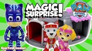 getlinkyoutube.com-PAW PATROL Magic Surprise Pup House Marshall & Skye + PJ Masks Gekko, Power Puff Girls & Lego Batman