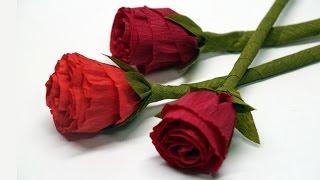 getlinkyoutube.com-DIY rose paper - How to make paper flowers - Rose / Crepe paper rose flower / DIY beauty and easy