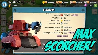getlinkyoutube.com-LEVEL 8 MAXED SCORCHER GAMEPLAY AND ATTACKS | 20,500 DIAMONDS | Boom Beach New Update Troop