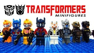 getlinkyoutube.com-LEGO Transformers: Age of Extinction KnockOff Minifigures with Optimus Prime Megatron Bumblebee