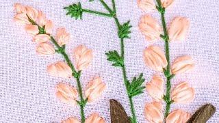 getlinkyoutube.com-Hand Embroidery | Flower Pattern with Ribbon, Cotton Floss Threads | HandiWorks #85