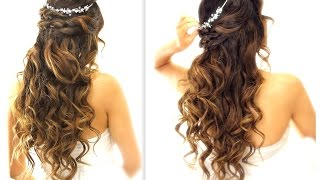 getlinkyoutube.com-★ EASY Wedding Half-Updo HAIRSTYLE with CURLS | Bridal Hairstyles for Long Medium Hair