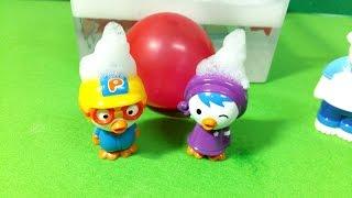 getlinkyoutube.com-거품목욕에 왜 거품이 없어!! Pororo bubble balloon bath ★뽀로로 장난감 애니