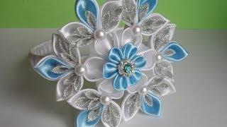getlinkyoutube.com-Новогодняя Снежинка . Ободок для волос Канзаши / Christmas Snowflake . Headband Hair Kanzashi