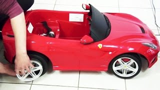 getlinkyoutube.com-Kids Ferrari F12 Berlinetta Remote Control Ride On Toy Car Unboxing DIY
