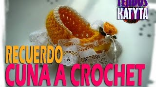 getlinkyoutube.com-Recuerdo Bautizo o Baby Shower - Cuna De Bebe a Crochet
