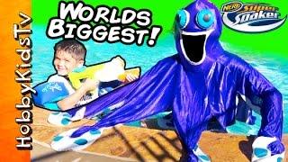 getlinkyoutube.com-Worlds Biggest Octopus SUPER SOAKERS Surprise Egg! GoPro Nerf by HobbyKidTV