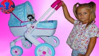 getlinkyoutube.com-Коляска для куклы котенок и Ярослава. Игрушки для девочек Stroller for Baby Dolls Unboxing Toy